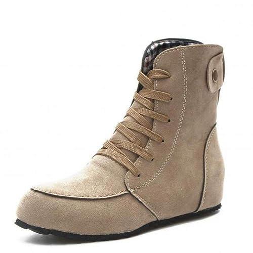 Zapatos Planos De Mujer Botas Martin Botas SóLidas con Cordones Comodas Botines con Punta Redonda Y Punta Redonda para Montar: Amazon.es: Zapatos y ...
