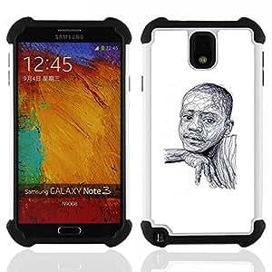 - black boy African American white sketch - - Doble capa caja de la armadura Defender FOR Samsung Galaxy Note3 N9000 N9008V N9009 RetroCandy
