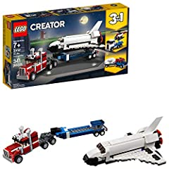Head for the launch site aboard the powerful LEGO Creator 3in1 31091 Shuttle Transporter, featuring a truck and trailer with vertical exhaust stacks, roof-mounted horns, tinted windshield and 10 sturdy wheels with chunky tires, plus a space s...
