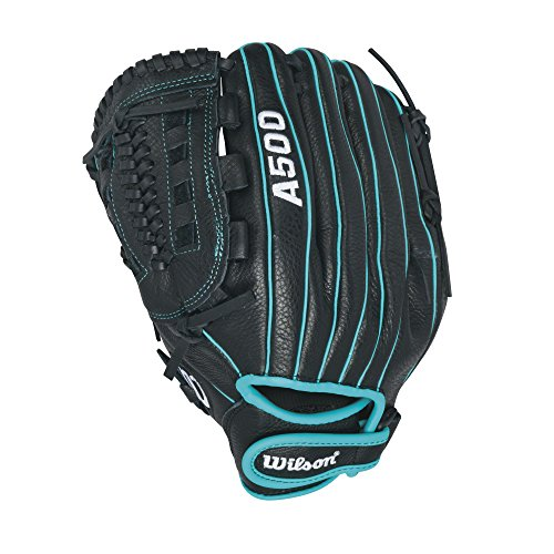 Wilson Siren Fastpitch Softball Glove 11.5 inch , Black/Teal by Wilson