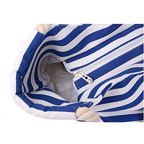 Band Strip main Blue Shopper Sac Big Classic Beach étroit Minetom Femmes Bag à wgT11S