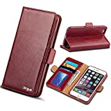 iPhone 6 / 6S Leather Case, Wallet Leather birgus Case [ GENUINE Leather of Cowhide ] (ONE YEAR GUARANTEE) for Apple Smartphone Phone 6/6S 4.7' with Folio Stand Functions 100% Handmade (CRANBERRY)