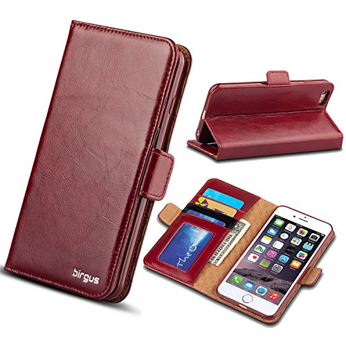 iPhone 6 / 6S Leather Case, Wallet Leather birgus Case [ GENUINE Leather of Cowhide ] (ONE YEAR GUARANTEE) for Apple Smartphone Phone 6/6S 4.7