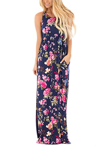 Jug&Po Women's Floral Print Sleeveless Long Maxi Casual Dress (X-Large Blue)