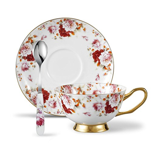 Panbado 3 Piece Bone China Tea Cup and Saucer Set with Spoon 6.8 oz, Vintage Porcelain Coffee Cup Set, Service for 1, Floral Gold Rimmed