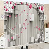 LB Teen Kids Decor Collection,2 Panels Room Darkening Blackout Curtains,Red Flowers 3D Effect Print Window Treatment Curtains Living Room Bedroom Window Drapes,80 x 84 Inches