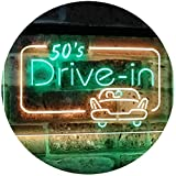 AdvpPro 2C 50s Drive in Vintage Display Home Décor Dual Color LED Neon Sign Green & Yellow 12'' x 8.5'' st6s32-m2076-gy
