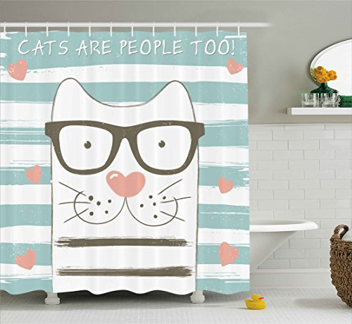 Ambesonne Animal Decor Shower Curtain, Hipster Cartoon Cat with Glasses Hearts and Stripes and Quotation Art, Fabric Bathroom Decor Set with Hooks, 75 Inches Long, White Blue and Pink