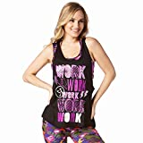 Zumba Black Loose Graphic Print Dance Tank Tops Active Workout Tops for Women, Bold Black 2, M