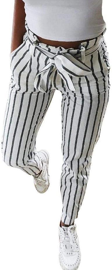 Pantalones Largos Mujer, Pantalón Pitillo con Mezcla de algodón y Rayas largas para Mujer Pantalones Atado Cintura Alta Mujer Slim fit por Venmo: Amazon.es: Ropa y accesorios