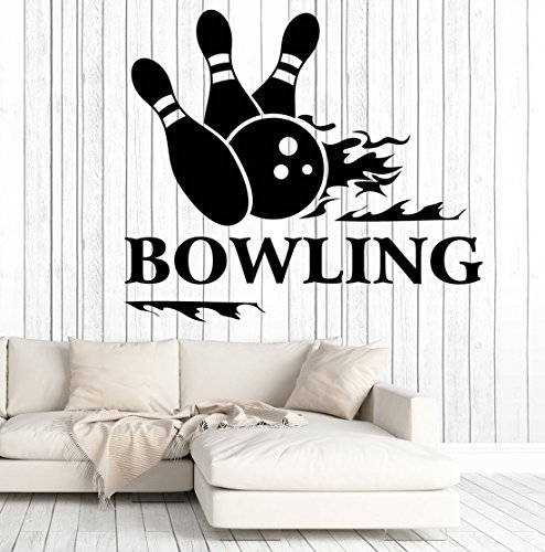 BorisMotley Wall Decal Bowling Sport Entertainment Center Vinyl Removable Mural Art Decoration Stickers for Home Bedroom Nursery Living Room Kitchen -