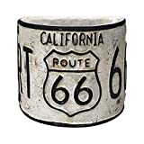 Rustic Route 66 Half-Round Planter, Vintage Style License Plate Design (White)