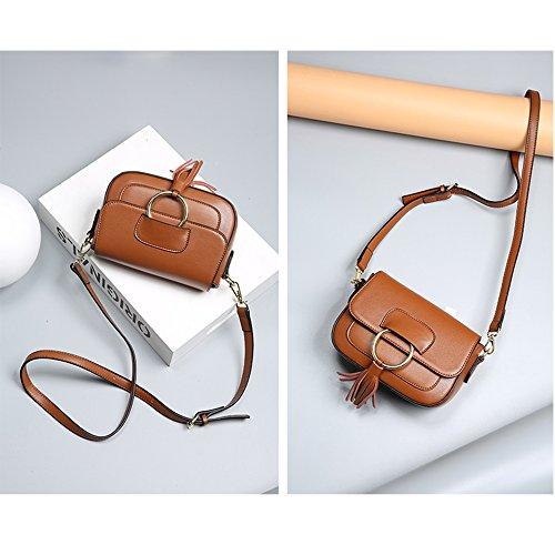 De Marrón Vintage Suave Diseño Clásico Auténtica Para Bolso Hombro Piel Mujer Sheli S75qUaw7
