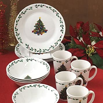 Gibson Christmas Elegance Gathering 12 Piece Dinnerware Set & Amazon.com | Gibson Christmas Elegance Gathering 12 Piece Dinnerware ...
