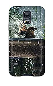 Premium Protection Sparrow Bathing In A Fountain Case Cover For Galaxy S5- Retail Packaging