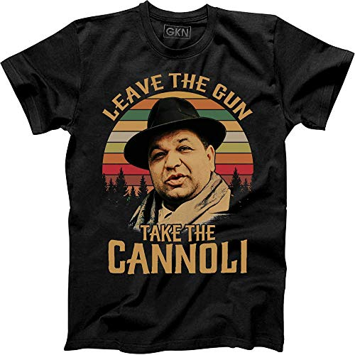 Leave The Gun Take The Cannoli Vintage Retro T-Shirt Peter Clemenza The Godfather Black