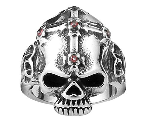 [Aooaz 316L Stainless Steel Mens Ring Bands Skull Silver Size 7 Punk Gothic Vintage Novelty Ring] (Tarnished Costume Jewelry Cleaner)