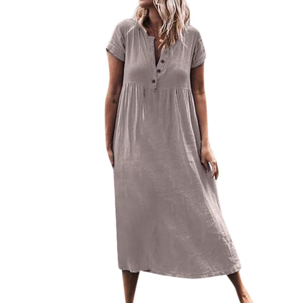 Bravetoshop Women Maxi Dresses,Summer V Neck line Roll Up The Sleeve Dress Splice Button Dress(Gray,XXXXXL) by Bravetoshop - dress
