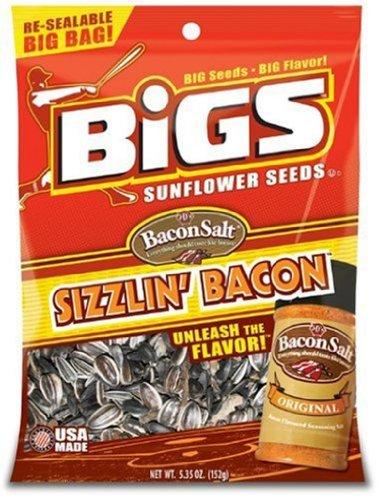 Bigs Bacon Salt Sizzling Sunflower Seed, 5.35-Ounce (Pack of 12) (Bacon Salt Sunflower Seeds)