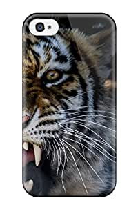 Defender Case With Nice Appearance (animal Tiger Growling) For Iphone 4/4s