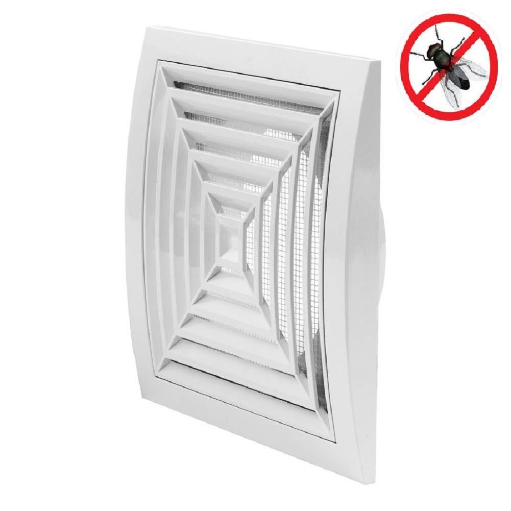 Rejilla de ventilació n redonda (Diá metro 150 mm 190 cmx190 mm Blanco Rejilla Mosquitera Blanco ABS rejilla, nd15gr Europlast