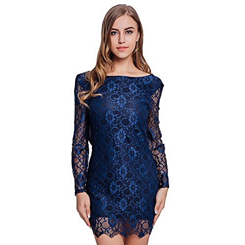 Vbiger Women's Backless Lace Dress Long Sleeve ...
