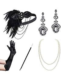 BABEYOND 1920s Flapper Accessories Set Gatsby Costume Accessories 20s Flapper Headband Pearl Necklace Gloves Cigarette Holder (Set-10) Black