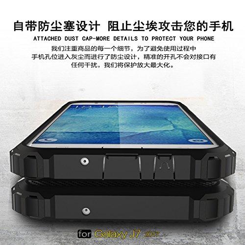 Fundas Galaxy J3 2017(US Edition)/J320/J3 Prime,XINYUNEW TPU+PC [Regalo 2.5D Cristal Vidrio Templado] Premium Armadura Híbrido caja de la armadura para el teléfono Silicona Carcasa Case Funda para Gal Azul