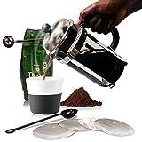 French Press Coffee Maker Pot Carafe and Presser Plus Bonus Metal...