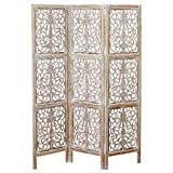 The Key West Room Divider with Carved Floral Motifs, 3 Panels, Vintage Style, Rustic Brown with White Wash, Distressed Finish, Sustainable Wood, Approx. 6 Ft Tall and 59