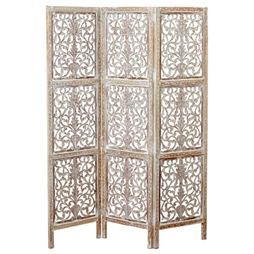 Key West Screen,Room Divider, Carved Floral Motifs, 3 Panels, Vintage Style, Rustic Brown, White Wash Distressed Finish, Sustainable Wood, Approx. 6 Ft Tall, 59 Inches Wide, Privacy ()
