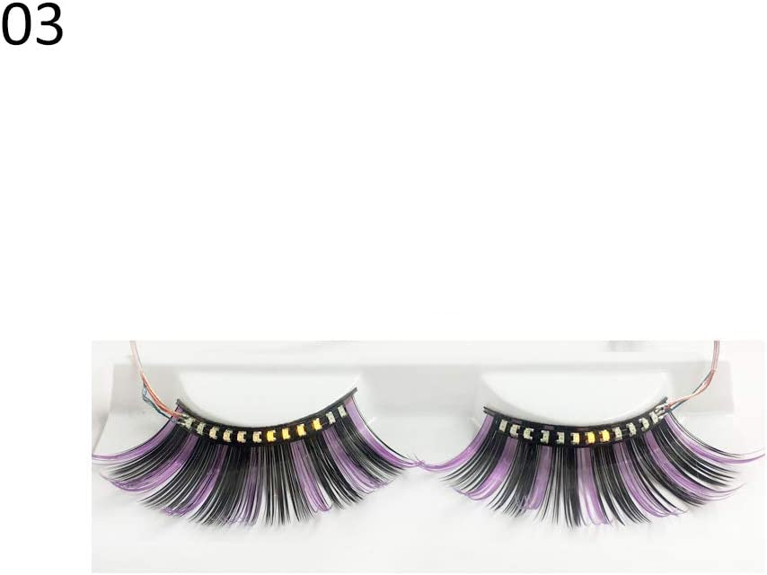 False Eyelashes Maserfaliw LED Colorful False Eyelashes Luminous Lash Extension Nightclub Party Makeup, A Must-Have for Skin Care, A Gift for A Lover. 3#
