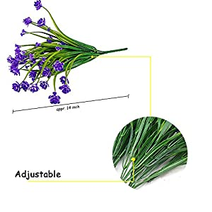 HOONAO 4pcs Artificial Fake Flowers,Faux Purple Daffodils Outdoor Greenery Plants Shrubs Plastic Bushes Indoor Outside Hanging Planter Home Garden Decoration 2