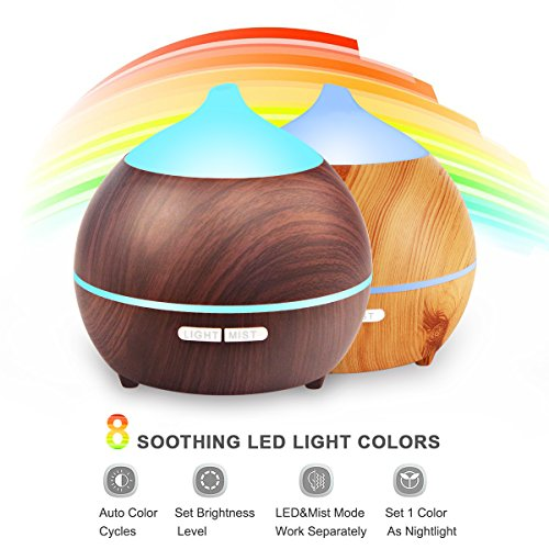 2PACK Essential Oil Diffuser, Iextreme 250ml Wood Grain diffuser With Auto Shut Off, 8 Colorful LED Light, Adjustable Mode Aroma Diffuser For Baby, Yoga, Spa, Home, Office by Iextreme (Image #1)