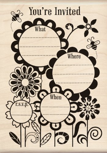 Garden Party Invitation - Inkadinkado Fanciful Flower invite Wood Stamp