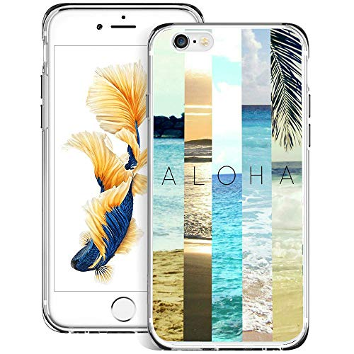 Fashion Anti-Scratch Soft Durable TPU Ultra-Clear Silicone UV Printing Protective Beach Aloha Phone Case for iPhone 6s 6