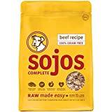 10 Pounds Dog Food - Sojos Complete Natural Grain Free Dry Raw Freeze Dried Dog Food Mix, Beef, 2-Pound Bag