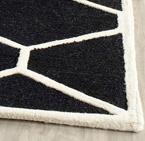 Safavieh Cambridge Collection CAM144E Handcrafted Moroccan Geometric Black and Ivory Premium Wool Area Rug (9' x 12')