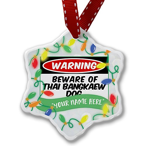 Personalized Name Christmas Ornament, Beware of the Thai Bangkaew Dog from Thailand NEONBLOND by NEONBLOND