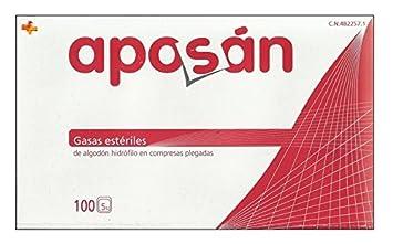 Aposán Gasas Estériles de Algodón Hidrófilo 100 unds: Amazon.es: Salud y cuidado personal