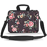 HAOCOO 17 17.3 inch Laptop Shoulder Bag Water-Resistant Neoprene Computer Case Sleeve with Handle Adjustable Shoulder Strap and External Side Pocket,Small Peony