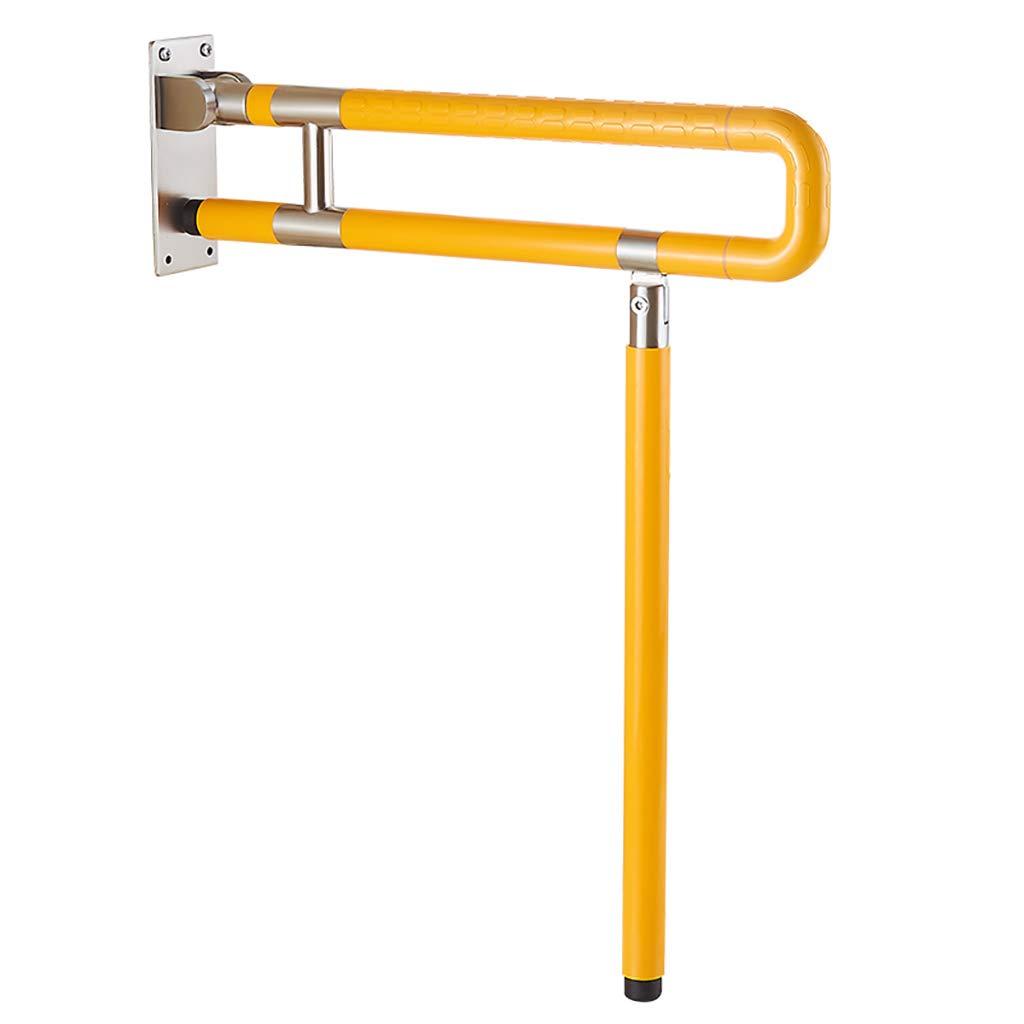 GJF Bagno Anziani Sicurezza corrimano Pieghevoli Servizi igienici disabili servi rialzati Booster Antiscivolo corrimano (colore   Giallo, Dimensioni   60cm)