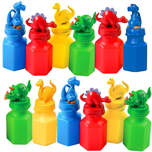 Kicko Dinosaur Bubble Bottles - 12 Pack - for Boys, Girls, Parties, Gifts, & Birthdays