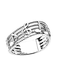 Treble Clef with Musical Notes in Sterling Silver Wavy Band