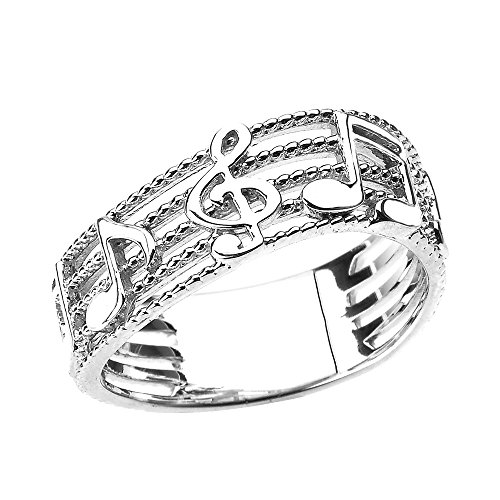 Treble Clef with Musical Notes in Sterling Silver Wavy Band (Size 7)