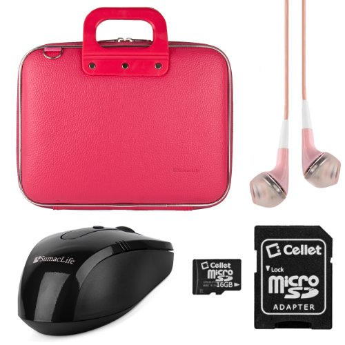 SumacLife Cady Dell Inspiron 11 3000 Series 11.6-inch Laptop and Tablet Briefcase Bag with 16GB Memory Card & USB Mouse & Pink Headphones (Pink)