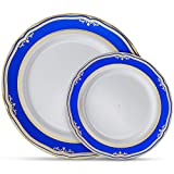 Laura Stein Designer Dinnerware Set | 64 Disposable Plastic Party Plates | White Wedding Plate with Blue Rim & Gold Accents | Includes 32 x 10.75' Dinner Plates + 32 x 7.5' Salad Plates | Cobalt Blue