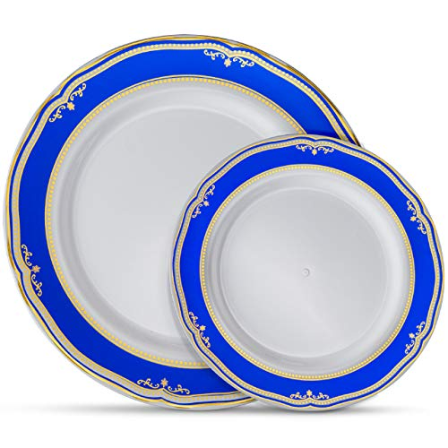 Laura Stein Designer Dinnerware Set | 64 Disposable Plastic Party Plates | White Wedding Plate with Blue Rim & Gold Accents | Includes 32 x 10.75 Dinner Plates + 32 x 7.5 Salad Plates | Cobalt Blue