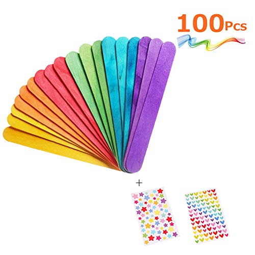 MOZOLAND Colored Craft Stick Natural Jumbo Wood Popsicle