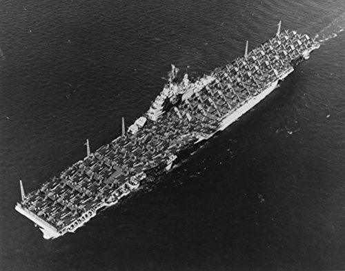 Home Comforts Laminated Poster The U.S. Navy Aircraft Carrier USS Essex (CV-9) at sea, with an Overload of Aircraft on her Flight d Vivid Imagery Poster Print 24 x 36